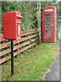 NG2745 : Roskhill: postbox № IV55 28 and phone by Chris Downer