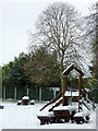 SO8995 : Snow covered beer garden in Penn, Wolverhampton by Roger  Kidd