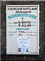NT9561 : Burnmouth Kirk notice board by Walter Baxter