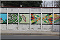 SJ3693 : Colourful hoardings by Alan Murray-Rust