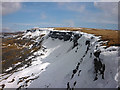 SD7999 : Snow fields and cornices at Hangingstone Scar by Karl and Ali