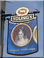 TQ2574 : Queen Adelaide Pub Sign, Wandsworth by David Anstiss