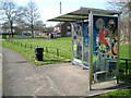SP0565 : Bus shelter, Throckmorton Road, Greenlands, Redditch by Robin Stott