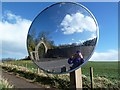NT9167 : A mirror opposite the driveway to Northfield House, St Abbs by Walter Baxter