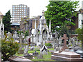 TQ2477 : Fulham: Graveyard of St. Thomas' R C Church by Dr Neil Clifton