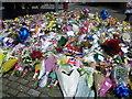 TQ4278 : Floral tributes outside the Royal Artillery Barracks by Marathon