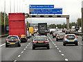 SJ6686 : Northbound M6, Sign Gantry at Thelwall Grange by David Dixon