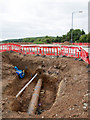 SP2754 : Work continues on A429 roundabout by David P Howard