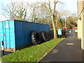SS9974 : Tyres near the entrance to Cowbridge Bowls Club by Jaggery