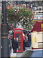 Looking south along Whitehall from Charing Cross, past a hanging basket hung from a lamppost.