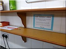 SH6460 : The 'help yourself shelf' in Idwal Cottage youth hostel by Jeremy Bolwell