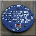 Photo of York to Scarborough line blue plaque