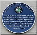 Photo of Ayton School blue plaque