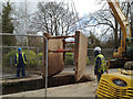 SP3165 : Moving shoring before extending a sewer trench, York Road, Leamington by Robin Stott