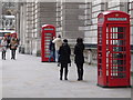 TQ3079 : London: four phone boxes in Parliament Street by Chris Downer