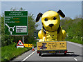SS5732 : A very large yellow dog approaching Portmore roundabout on the A361 : Week 18