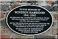 Photo of Winston Harwood black plaque