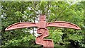 SJ9594 : Sustrans Signpost at Swain's Valley (Top detail) by Gerald England