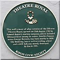 Photo of George John Bennett, Edmund Kean, and Theatre Royal, Ripon green plaque