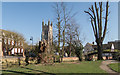 TL1860 : St.Neots Church from park in Brook Street by Kim Fyson