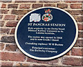 Photo of St Pancras railway station, London blue plaque