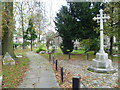 TQ1785 : The path past the war memorial, St John's Churchyard, Wembley by Marathon