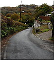 SS8985 : Minor road descends towards the River Llynfi, Coytrahen by Jaggery