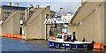 "J3474 : The ""Sacha"" and diver, Lagan Weir, Belfast (December 2014) by Albert Bridge"