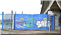 J3474 : Old harbour fence, Donegall Quay, Belfast (December 2014) by Albert Bridge