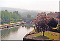 ST7564 : Bath, 1987: downstream on River Avon from Grand Parade by Ben Brooksbank