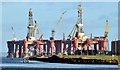 J3676 : Two oil rigs, Harland & Wolff, Belfast - January 2015(2) by Albert Bridge