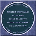 Photo of Barton-upon-Humber railway station green plaque
