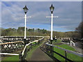 SJ6470 : Ornate lamp posts Vale Royal Lock, Weaver Navigation, N of Winsford by Colin Park