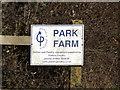 TM1977 : Park Farm sign by Adrian Cable
