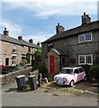 SK0281 : Pink Mini and cottages at Buxworth : Week 22