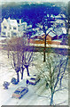 TQ3371 : Wintry scene NE over Dulwich Wood Park from Raleigh Court, 1982 by Ben Brooksbank