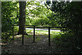 SU8063 : Footpath barriers, Finchampstead Ridges by Alan Hunt