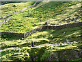 NY2310 : Dry stone walls on mountain slope by Trevor Littlewood