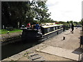 TQ0586 : Canal boat Southern Jack's in Denham Lock by David Hawgood