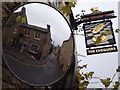 SP3127 : The Chequers inn sign and mirror : Week 50