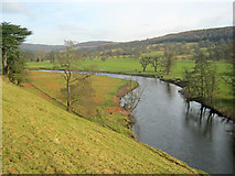 SK2570 : River Derwent at Chatsworth Park by Trevor Rickard