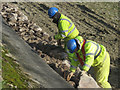 SP9113 : Repairing Startops Reservoir (16) Men at Work by Chris Reynolds