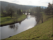 SK2570 : Derwent River at Chatsworth Bridge by Trevor Rickard