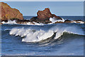 NT9266 : Winter waves in Coldingham Bay by Walter Baxter