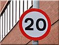 J3474 : 20 mph speed limit sign, Gloucester Street, Belfast (January 2016) by Albert Bridge