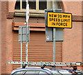 J3373 : 20 mph speed limit reminder  sign, Brunswick Street, Belfast (January 2016) by Albert Bridge