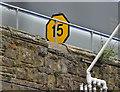 J3474 : Railway speed limit sign, Bridge End, Belfast (February 2016) by Albert Bridge