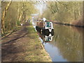 TQ0587 : Bon Temps Roullez, narrowboat reflected in still water of canal by David Hawgood