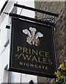 TQ2887 : Sign for the Prince of Wales, Highgate by JThomas