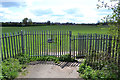 SP3779 : Gates into playing fields, Sowe Valley, Binley, Coventry by Robin Stott